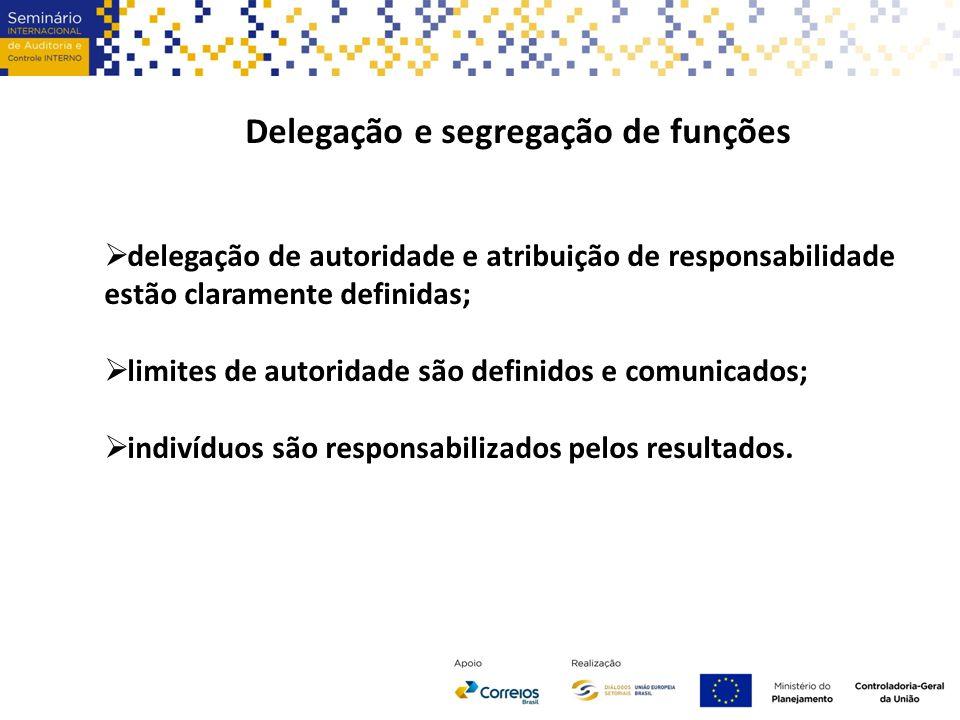 Delegação e segregação de funções  delegação de autoridade e atribuição de responsabilidade estão claramente definidas;  limites de autoridade são definidos e comunicados;  indivíduos são responsabilizados pelos resultados.