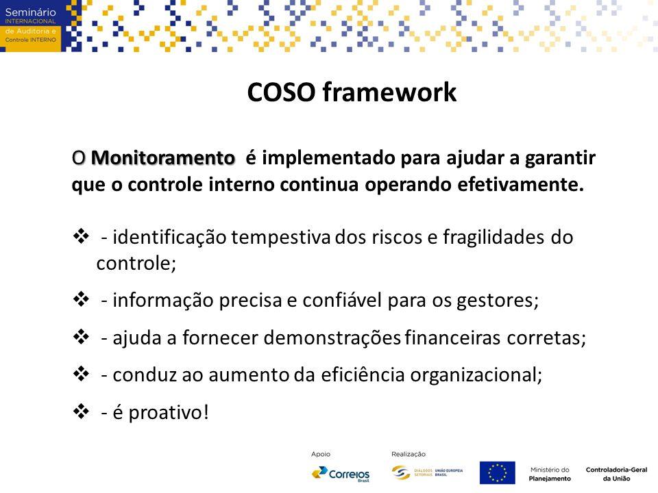 COSO framework O Monitoramento O Monitoramento é implementado para ajudar a garantir que o controle interno continua operando efetivamente.