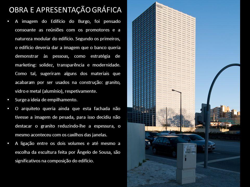 OBRA E APRESENTAÇÃO GRÁFICA O A imagem do Edifício do Burgo, foi pensado consoante as reúniões com os promotores e a natureza modular do edifício.