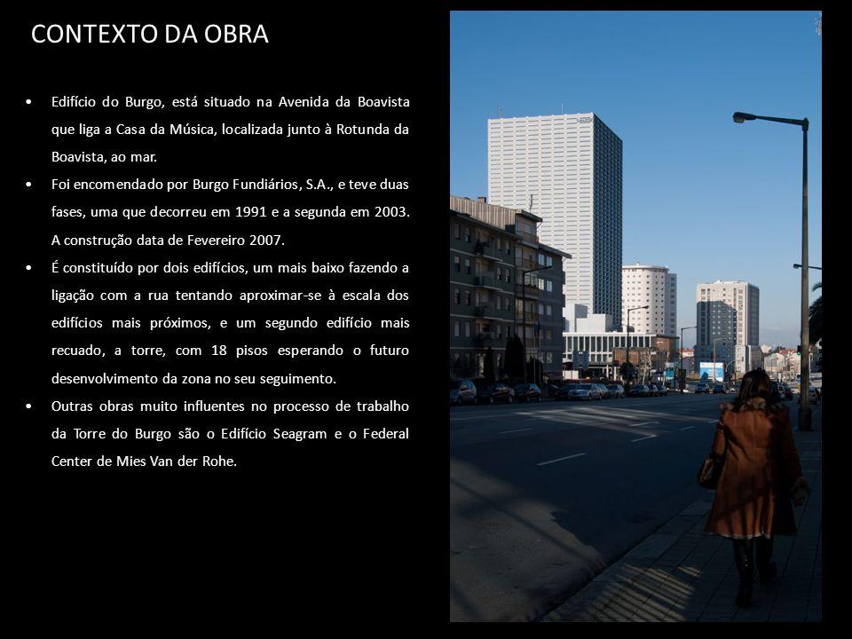 CONTEXTO DA OBRA Edifício do Burgo, está situado na Avenida da Boavista que liga a Casa da Música, localizada junto à Rotunda da Boavista, ao mar.