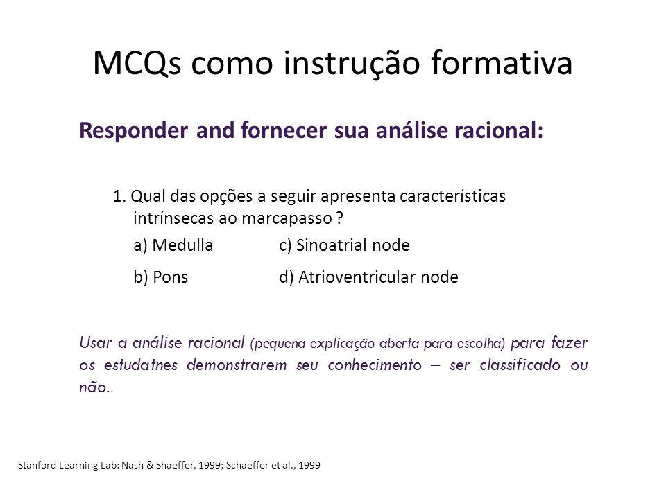 MCQs como instrução formativa Responder and fornecer sua análise racional: 1.