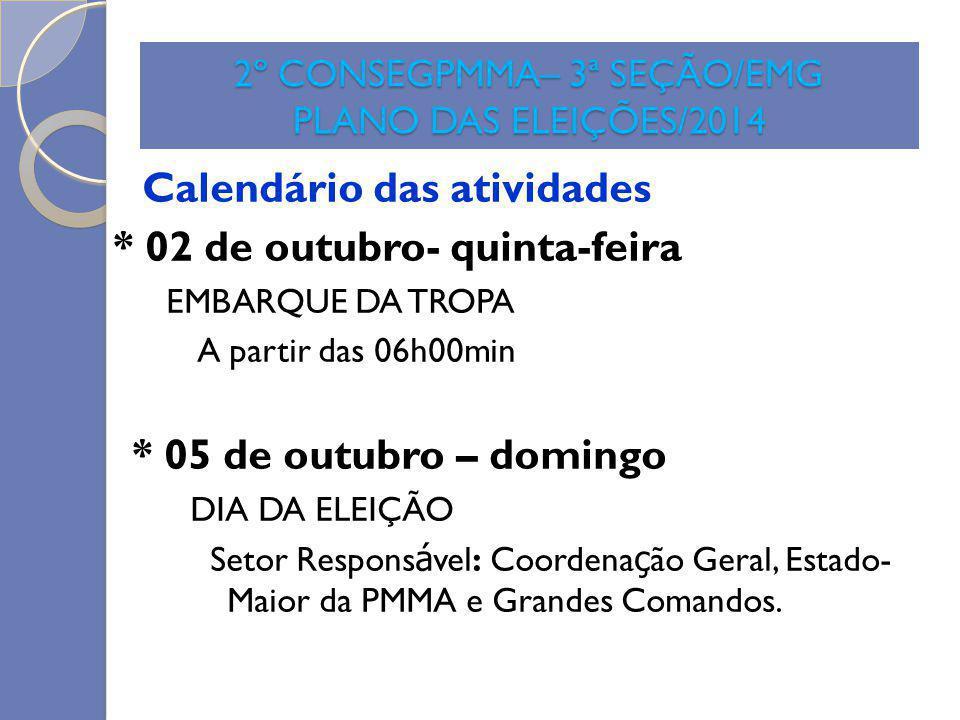 2º CONSEGPMMA– 3ª SEÇÃO/EMG PLANO DAS ELEIÇÕES/2014 Calendário das atividades * 02 de outubro- quinta-feira EMBARQUE DA TROPA A partir das 06h00min *