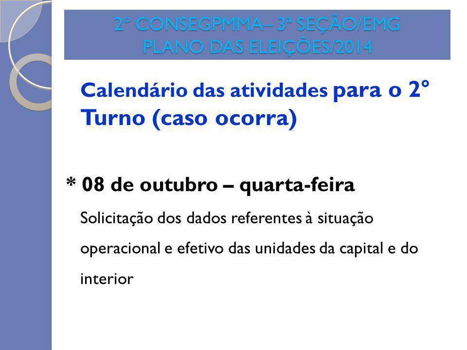 2º CONSEGPMMA– 3ª SEÇÃO/EMG PLANO DAS ELEIÇÕES/2014 Calendário das atividades para o 2° Turno (caso ocorra) * 08 de outubro – quarta-feira Solicitação