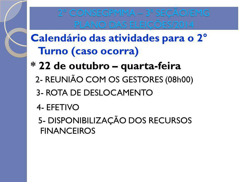 2º CONSEGPMMA – 3ª SEÇÃO/EMG PLANO DAS ELEIÇÕES/2014 Calendário das atividades para o 2° Turno (caso ocorra) * 22 de outubro – quarta-feira 2- REUNIÃO