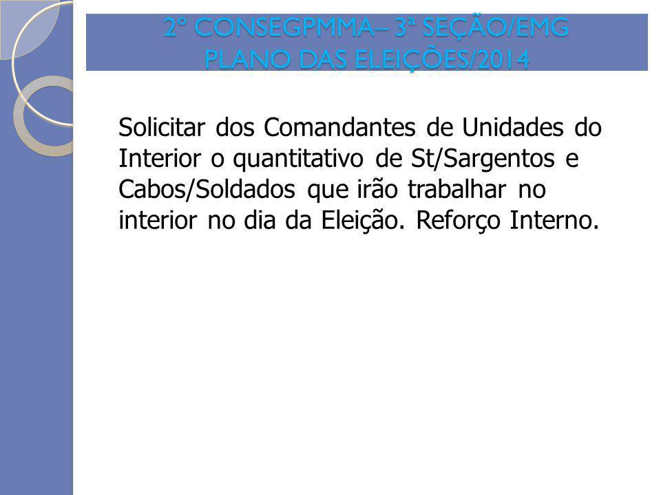 2º CONSEGPMMA– 3ª SEÇÃO/EMG PLANO DAS ELEIÇÕES/2014 Solicitar dos Comandantes de Unidades do Interior o quantitativo de St/Sargentos e Cabos/Soldados