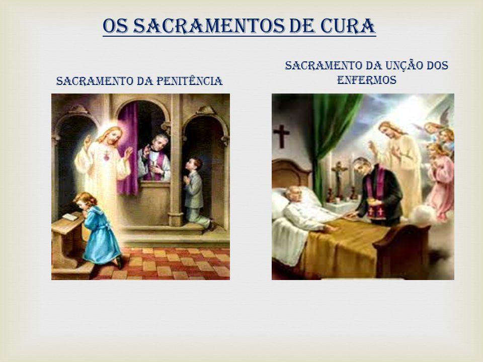 Os sacramentos de cura Sacramento da Penitência Sacramento da Unção dos Enfermos