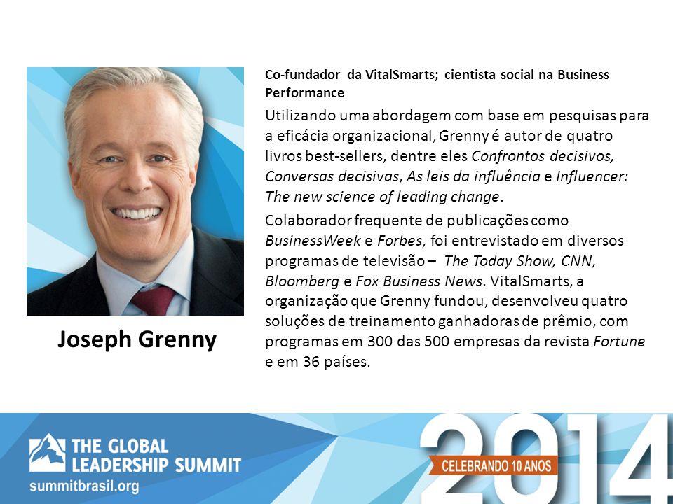 Co-fundador da VitalSmarts; cientista social na Business Performance Utilizando uma abordagem com base em pesquisas para a eficácia organizacional, Gr