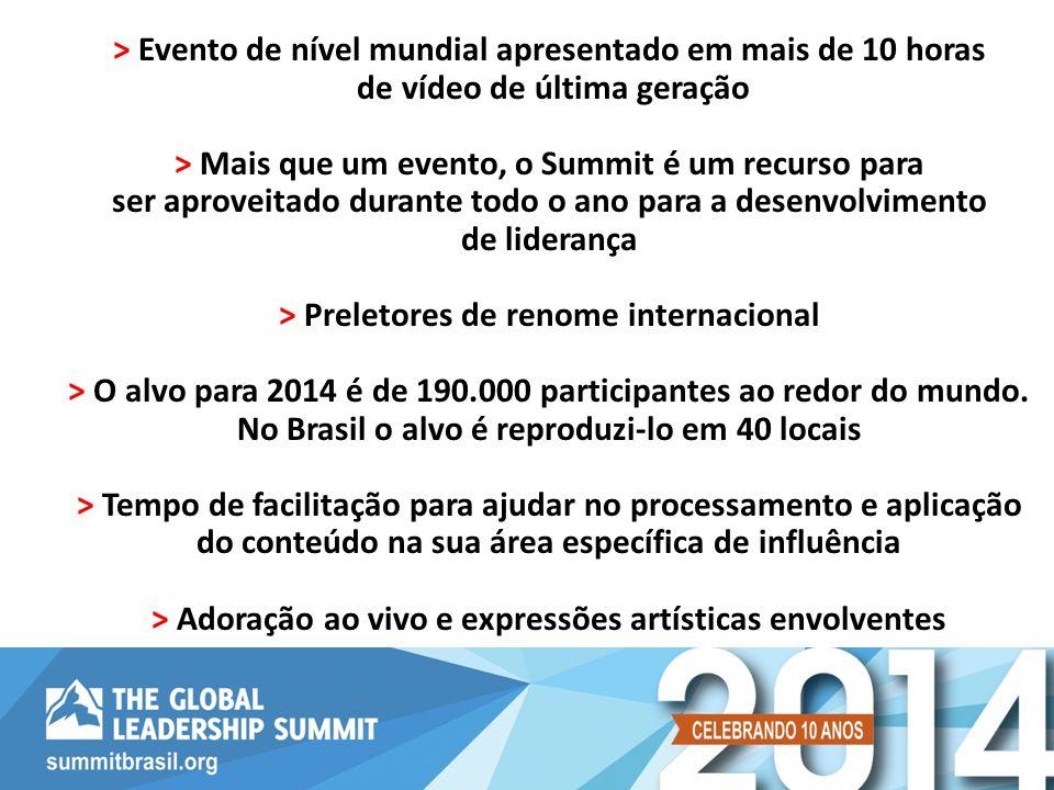 > Evento de nível mundial apresentado em mais de 10 horas de vídeo de última geração > Mais que um evento, o Summit é um recurso para ser aproveitado durante todo o ano para a desenvolvimento de liderança > Preletores de renome internacional > O alvo para 2014 é de 190.000 participantes ao redor do mundo.
