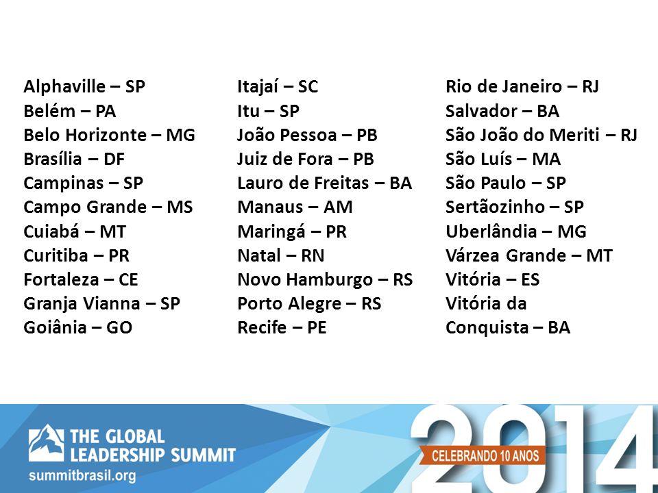 Alphaville – SP Belém – PA Belo Horizonte – MG Brasília – DF Campinas – SP Campo Grande – MS Cuiabá – MT Curitiba – PR Fortaleza – CE Granja Vianna –