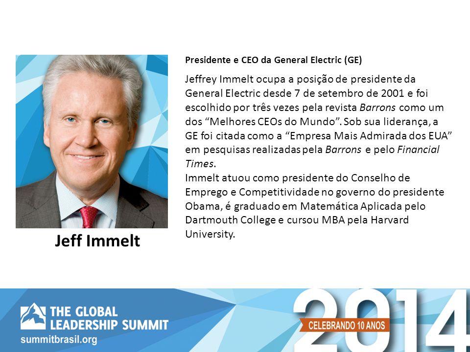Jeffrey Immelt ocupa a posição de presidente da General Electric desde 7 de setembro de 2001 e foi escolhido por três vezes pela revista Barrons como