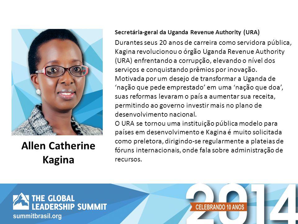 Durantes seus 20 anos de carreira como servidora pública, Kagina revolucionou o órgão Uganda Revenue Authority (URA) enfrentando a corrupção, elevando o nível dos serviços e conquistando prêmios por inovação.
