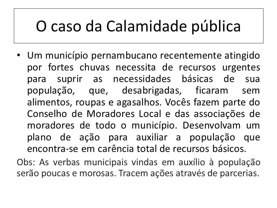 O caso da Calamidade pública Um município pernambucano recentemente atingido por fortes chuvas necessita de recursos urgentes para suprir as necessida