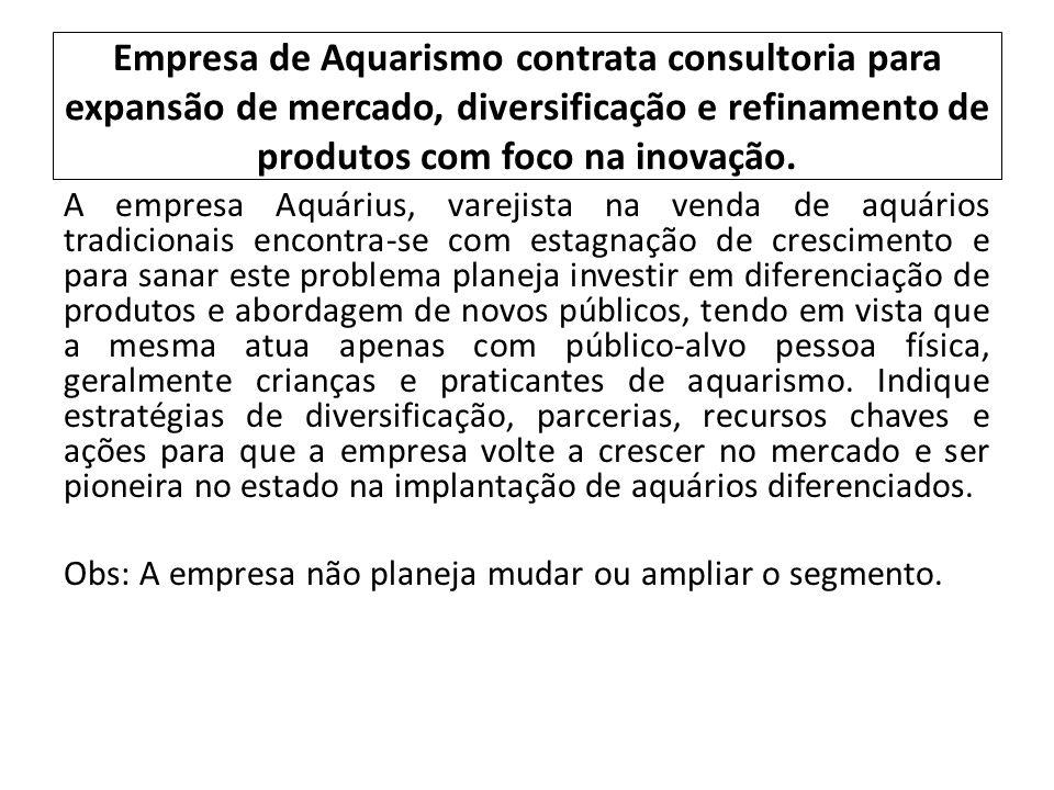 Empresa de Aquarismo contrata consultoria para expansão de mercado, diversificação e refinamento de produtos com foco na inovação. A empresa Aquárius,