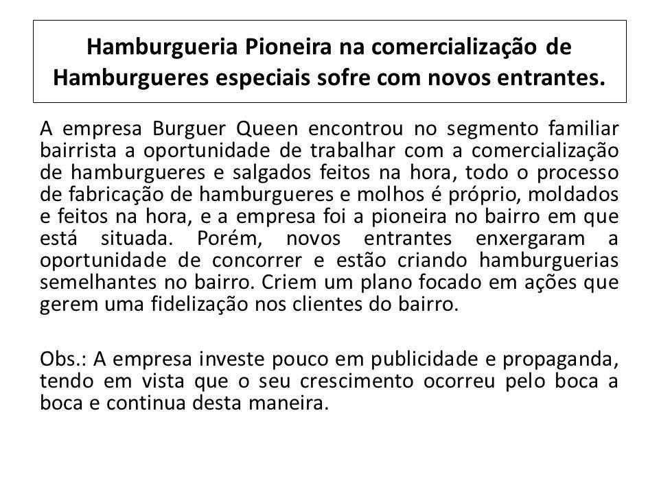 Hamburgueria Pioneira na comercialização de Hamburgueres especiais sofre com novos entrantes. A empresa Burguer Queen encontrou no segmento familiar b