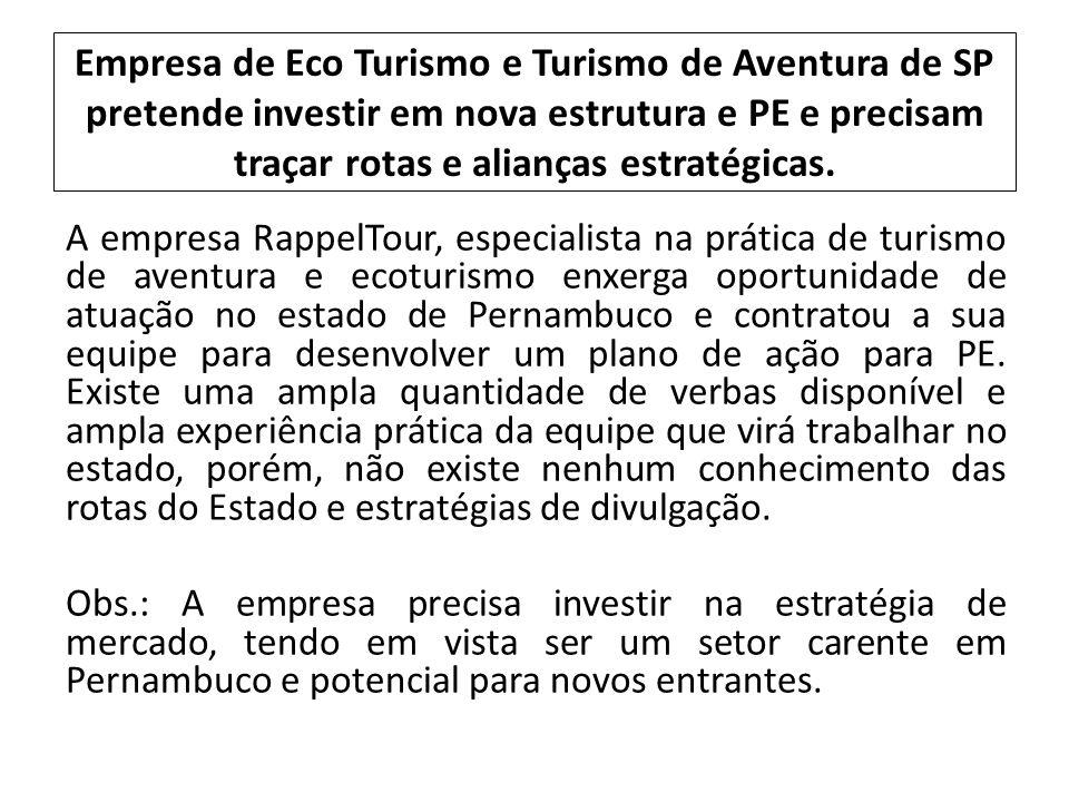 Empresa de Eco Turismo e Turismo de Aventura de SP pretende investir em nova estrutura e PE e precisam traçar rotas e alianças estratégicas. A empresa