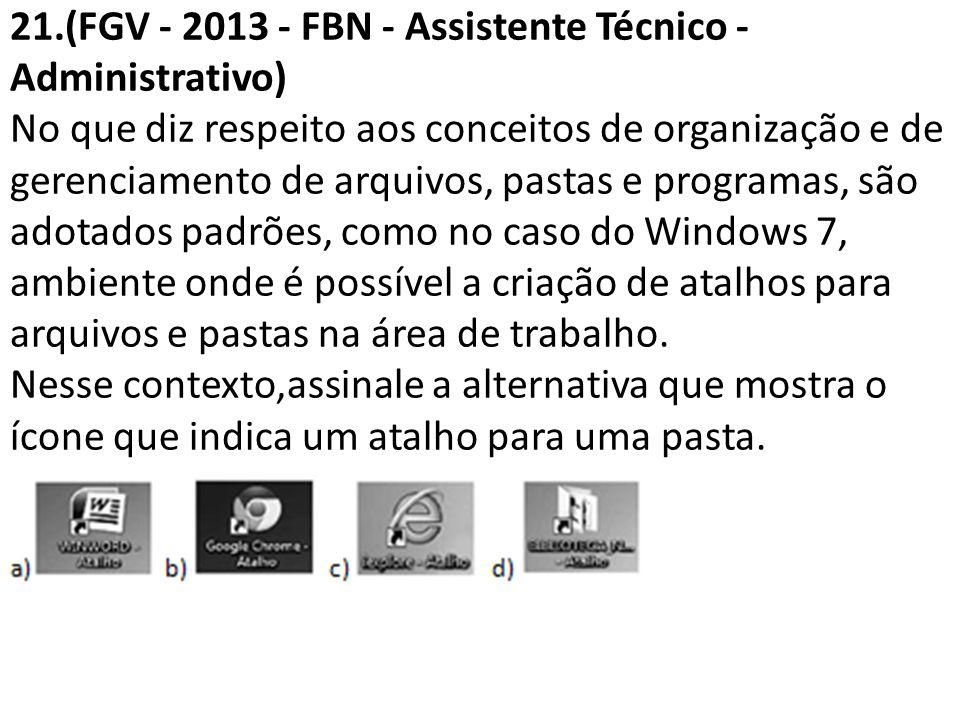 21.(FGV - 2013 - FBN - Assistente Técnico - Administrativo) No que diz respeito aos conceitos de organização e de gerenciamento de arquivos, pastas e