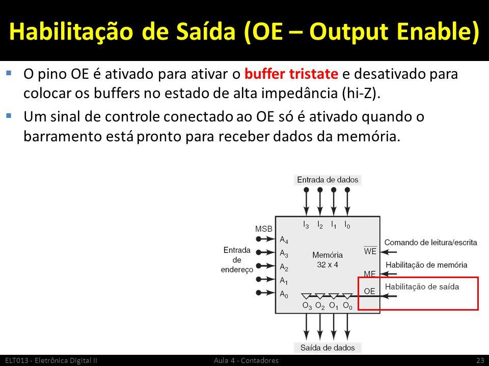 Habilitação de Saída (OE – Output Enable)  O pino OE é ativado para ativar o buffer tristate e desativado para colocar os buffers no estado de alta i
