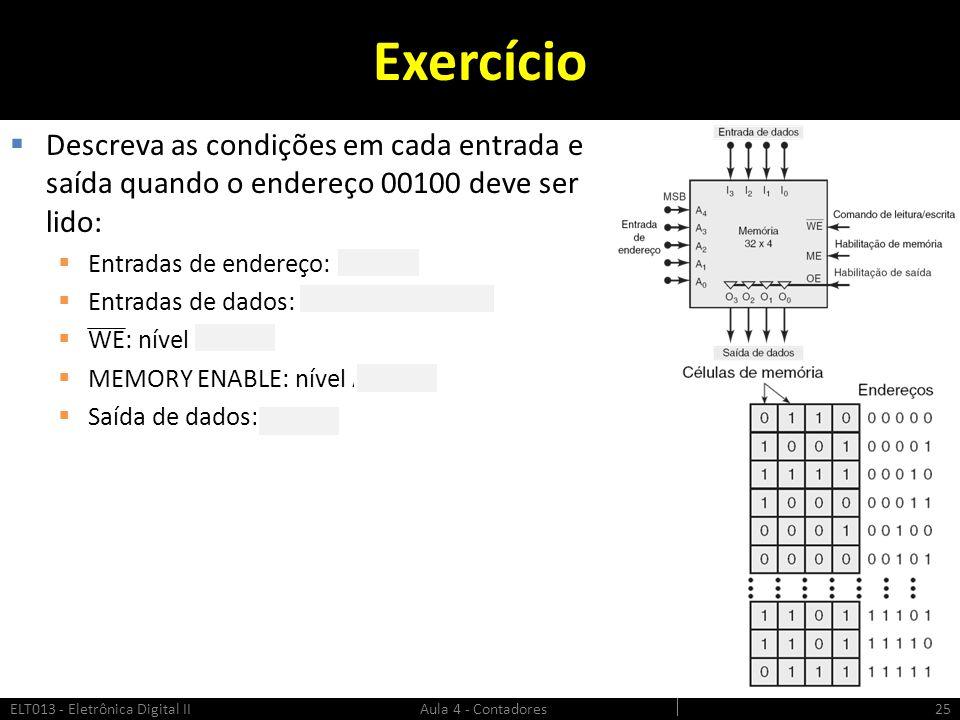 Exercício  Descreva as condições em cada entrada e saída quando o endereço 00100 deve ser lido:  Entradas de endereço: 00100  Entradas de dados: xx