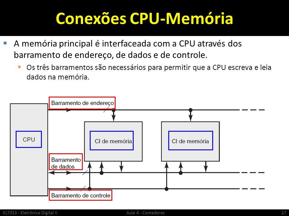 Conexões CPU-Memória  A memória principal é interfaceada com a CPU através dos barramento de endereço, de dados e de controle.  Os três barramentos