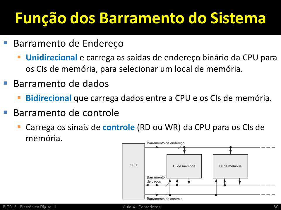 Função dos Barramento do Sistema  Barramento de Endereço  Unidirecional e carrega as saídas de endereço binário da CPU para os CIs de memória, para