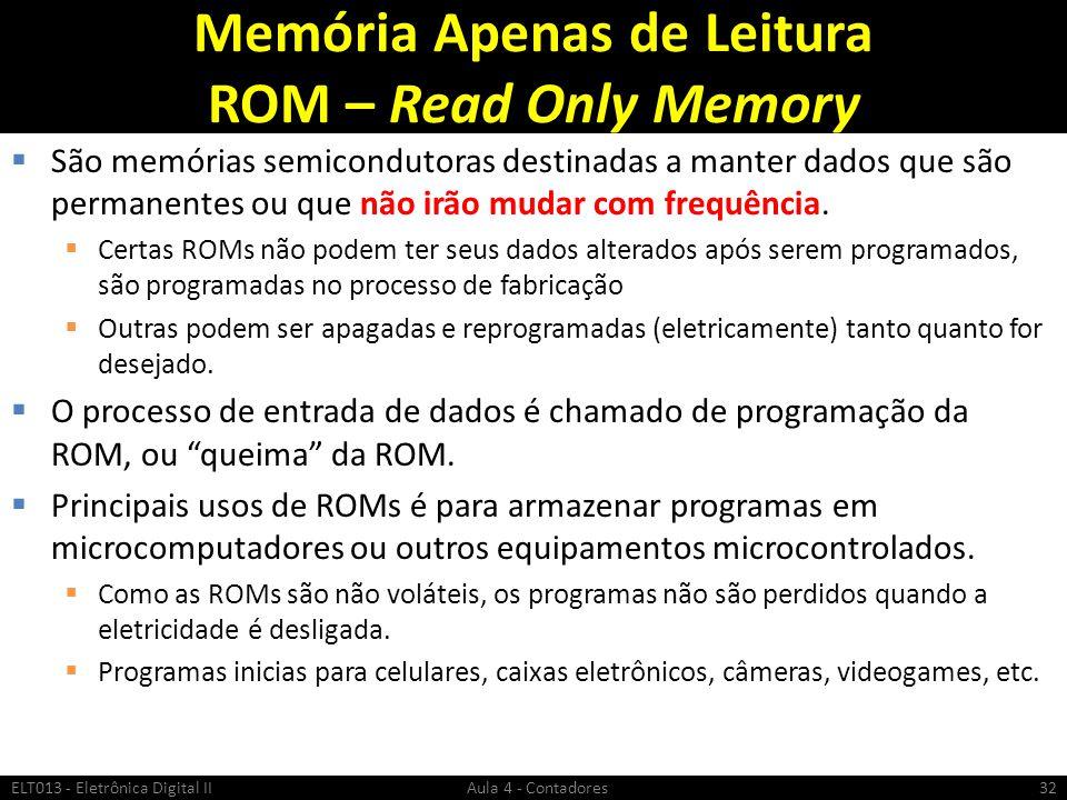 Memória Apenas de Leitura ROM – Read Only Memory  São memórias semicondutoras destinadas a manter dados que são permanentes ou que não irão mudar com
