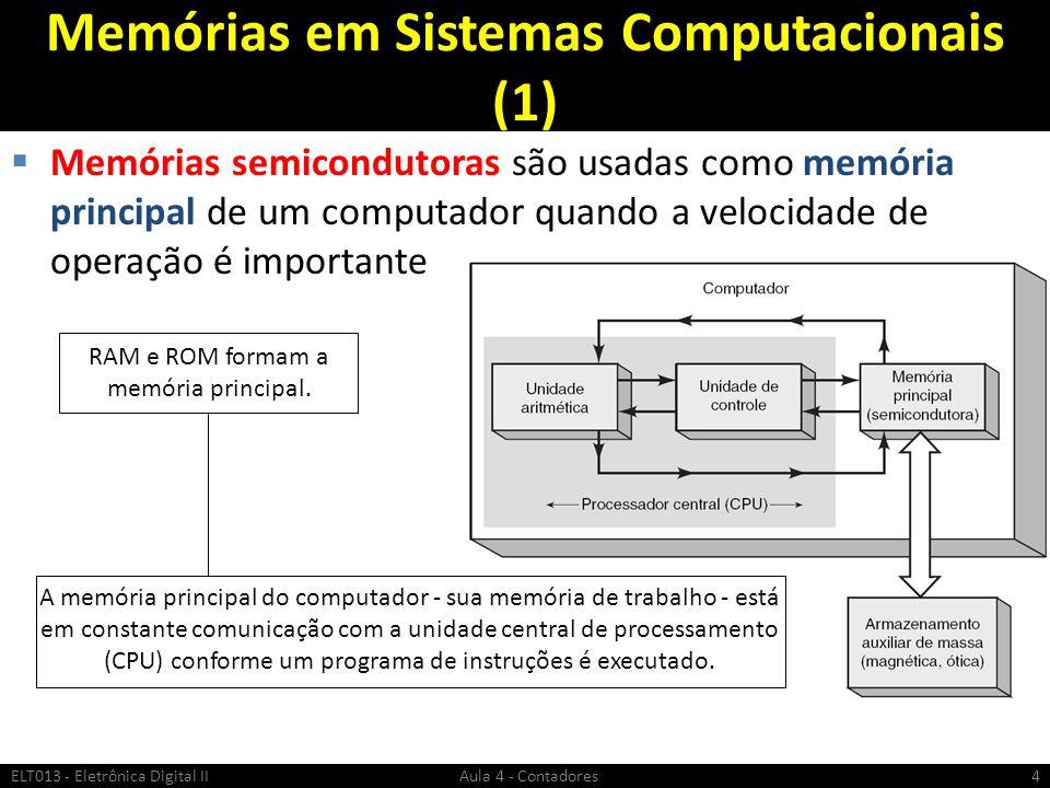 Memórias em Sistemas Computacionais (1)  Memórias semicondutoras são usadas como memória principal de um computador quando a velocidade de operação é