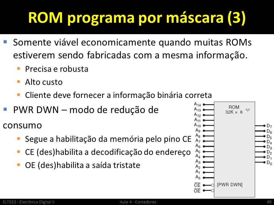 ROM programa por máscara (3)  Somente viável economicamente quando muitas ROMs estiverem sendo fabricadas com a mesma informação.  Precisa e robusta