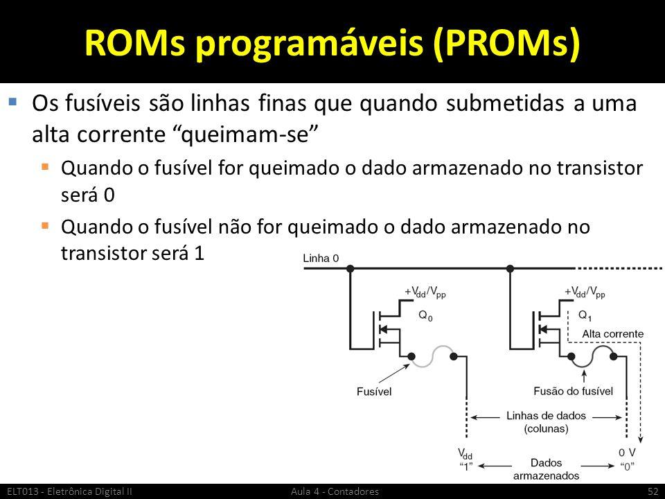 """ROMs programáveis (PROMs)  Os fusíveis são linhas finas que quando submetidas a uma alta corrente """"queimam-se""""  Quando o fusível for queimado o dado"""