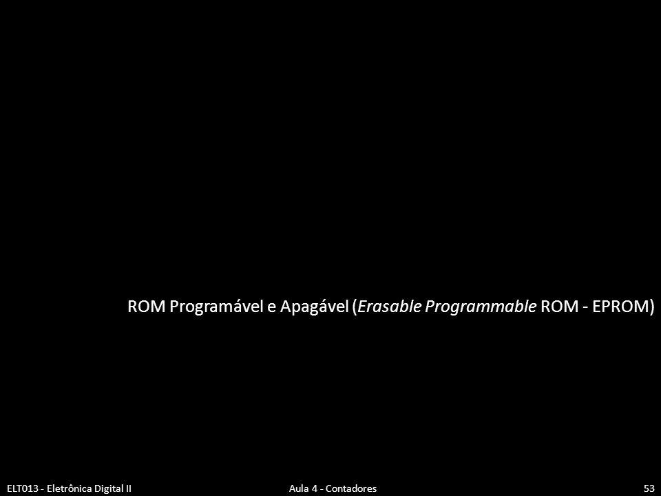 ROM Programável e Apagável (Erasable Programmable ROM - EPROM) ELT013 - Eletrônica Digital II Aula 4 - Contadores53