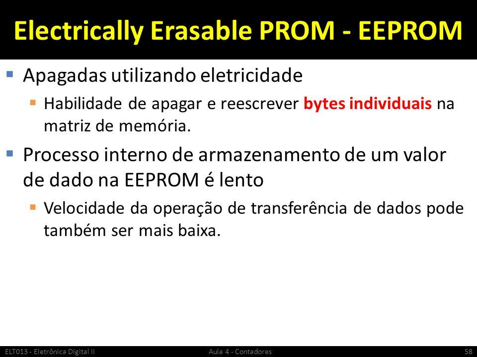 Electrically Erasable PROM - EEPROM  Apagadas utilizando eletricidade  Habilidade de apagar e reescrever bytes individuais na matriz de memória.  P
