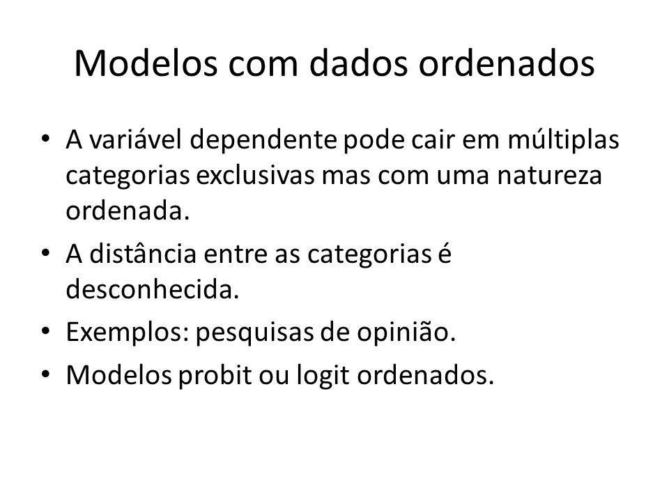 Modelos com dados ordenados A variável dependente pode cair em múltiplas categorias exclusivas mas com uma natureza ordenada. A distância entre as cat