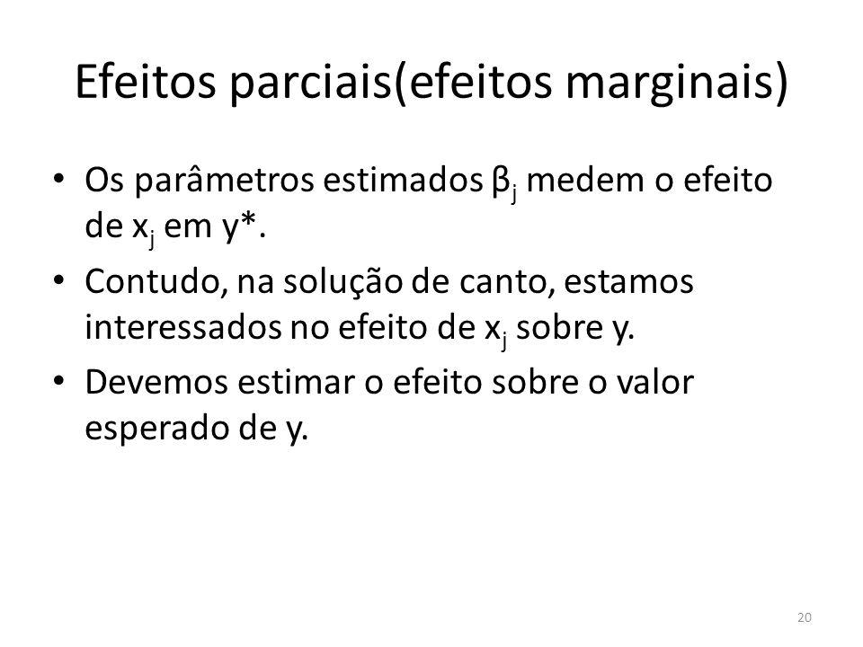 Efeitos parciais(efeitos marginais) Os parâmetros estimados β j medem o efeito de x j em y*. Contudo, na solução de canto, estamos interessados no efe