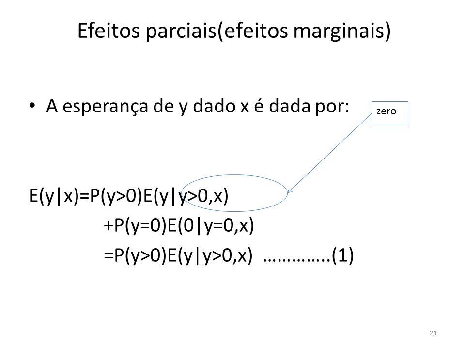 Efeitos parciais(efeitos marginais) A esperança de y dado x é dada por: E(y|x)=P(y>0)E(y|y>0,x) +P(y=0)E(0|y=0,x) =P(y>0)E(y|y>0,x) …………..(1) 21 zero