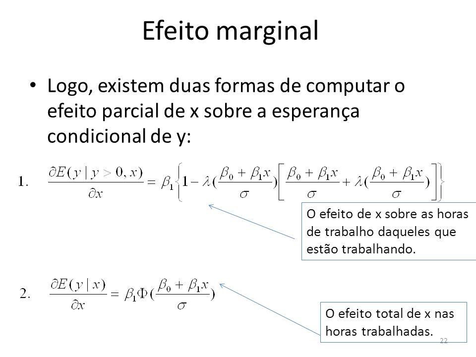 Efeito marginal Logo, existem duas formas de computar o efeito parcial de x sobre a esperança condicional de y: 22 O efeito de x sobre as horas de tra