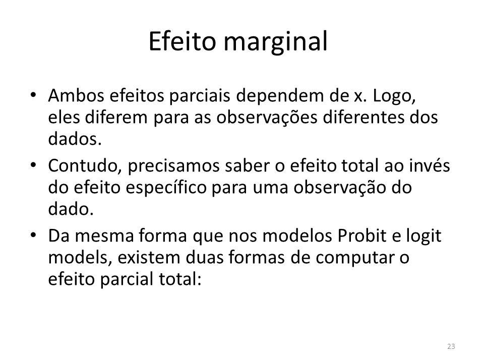 Efeito marginal Ambos efeitos parciais dependem de x. Logo, eles diferem para as observações diferentes dos dados. Contudo, precisamos saber o efeito