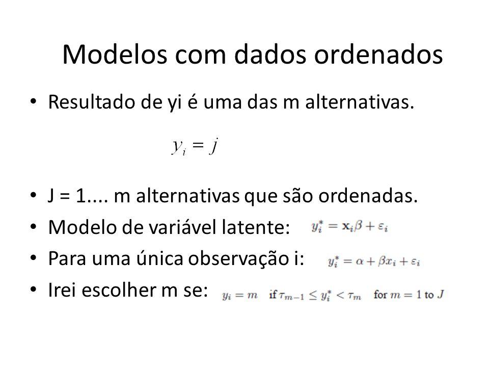 Resultado de yi é uma das m alternativas. J = 1.... m alternativas que são ordenadas. Modelo de variável latente: Para uma única observação i: Irei es