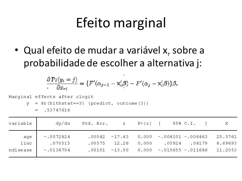 Efeito marginal Qual efeito de mudar a variável x r sobre a probabilidade de escolher a alternativa j:
