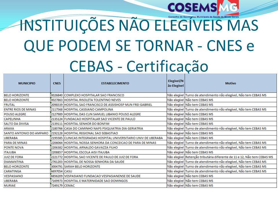 INSTITUIÇÕES NÃO ELEGÍVEIS MAS QUE PODEM SE TORNAR - CNES e CEBAS - Certificação