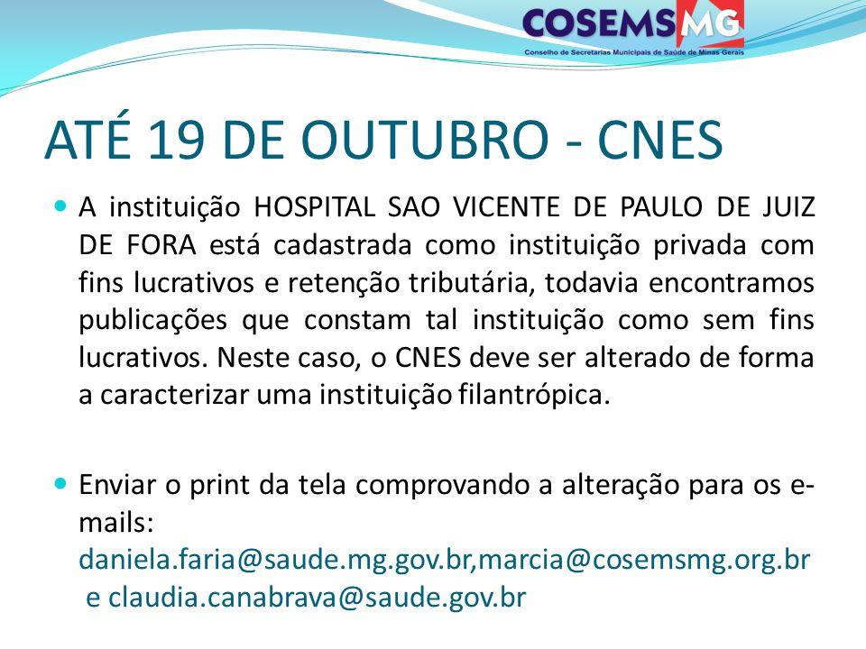 ATÉ 19 DE OUTUBRO - CNES A instituição HOSPITAL SAO VICENTE DE PAULO DE JUIZ DE FORA está cadastrada como instituição privada com fins lucrativos e re