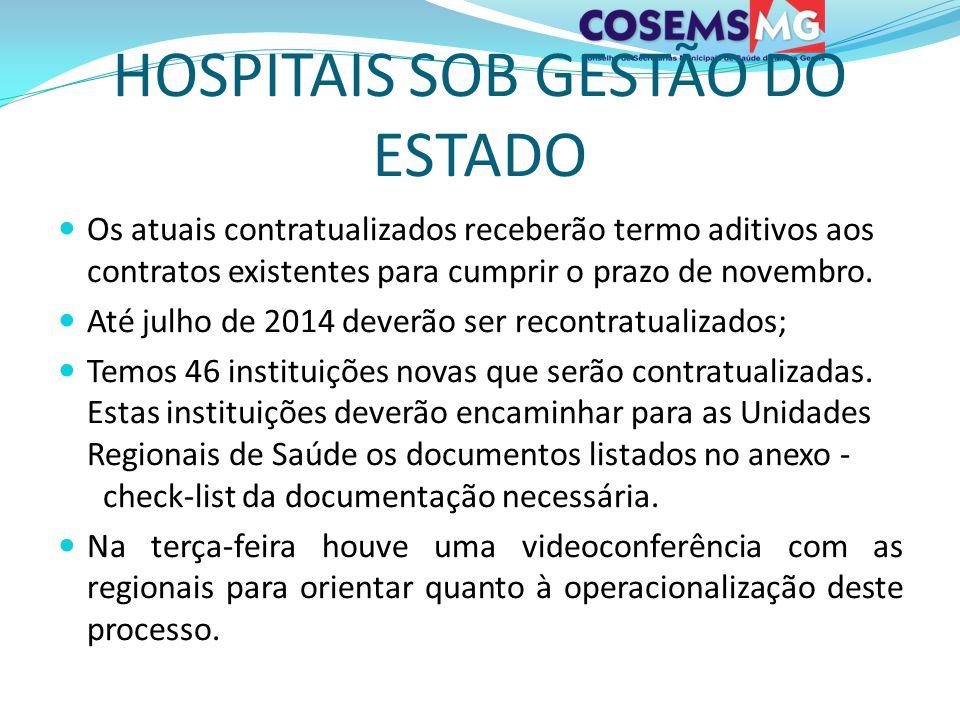 HOSPITAIS SOB GESTÃO DO ESTADO Os atuais contratualizados receberão termo aditivos aos contratos existentes para cumprir o prazo de novembro. Até julh