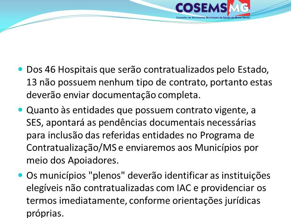 Dos 46 Hospitais que serão contratualizados pelo Estado, 13 não possuem nenhum tipo de contrato, portanto estas deverão enviar documentação completa.