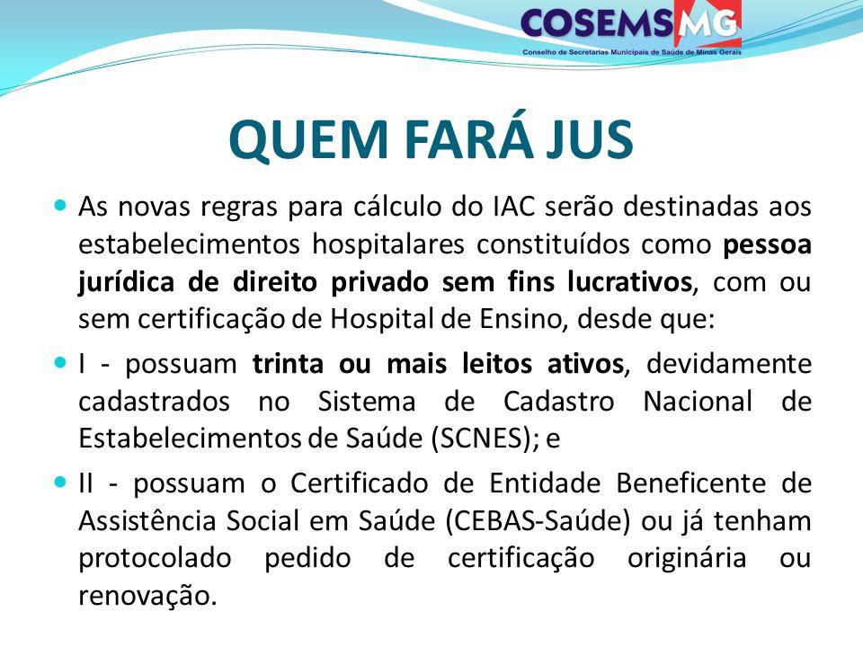QUEM FARÁ JUS As novas regras para cálculo do IAC serão destinadas aos estabelecimentos hospitalares constituídos como pessoa jurídica de direito priv