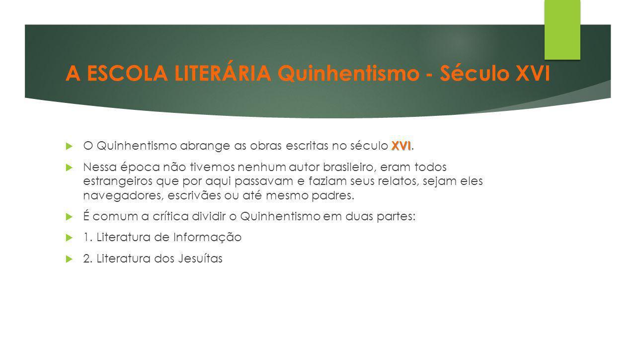 A ESCOLA LITERÁRIA Quinhentismo - Século XVI XVI  O Quinhentismo abrange as obras escritas no século XVI.  Nessa época não tivemos nenhum autor bras