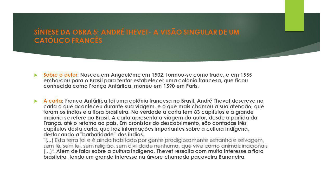 SÍNTESE DA OBRA 5: ANDRÉ THEVET- A VISÃO SINGULAR DE UM CATÓLICO FRANCÊS  Sobre o autor: Nasceu em Angoulême em 1502, formou-se como frade, e em 1555