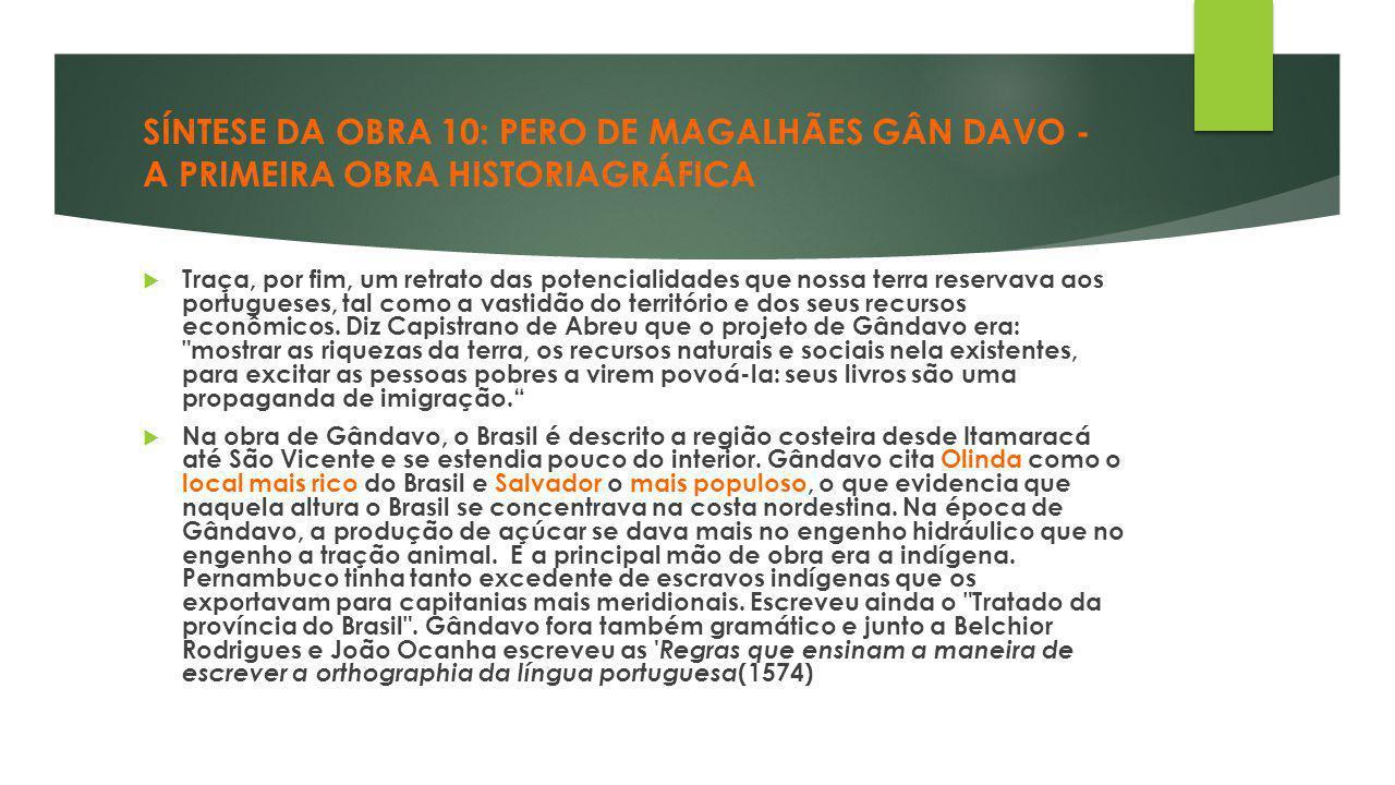 SÍNTESE DA OBRA 10: PERO DE MAGALHÃES GÂN DAVO - A PRIMEIRA OBRA HISTORIAGRÁFICA  Traça, por fim, um retrato das potencialidades que nossa terra rese