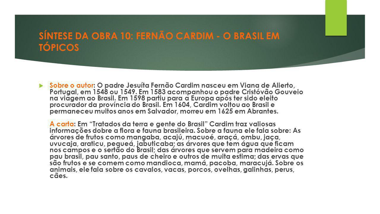 SÍNTESE DA OBRA 10: FERNÃO CARDIM - O BRASIL EM TÓPICOS  Sobre o autor: O padre Jesuíta Fernão Cardim nasceu em Viana de Alierto, Portugal, em 1548 o