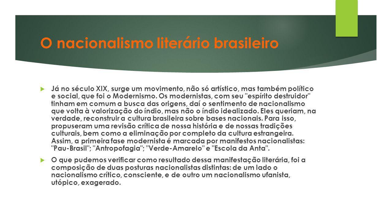 O nacionalismo literário brasileiro  Já no século XIX, surge um movimento, não só artístico, mas também político e social, que foi o Modernismo. Os m
