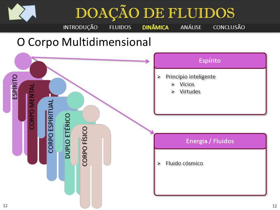 INTRODUÇÃO FLUIDOS DINÂMICA ANÁLISE CONCLUSÃO 12 O Corpo Multidimensional Espírito  Princípio inteligente  Vícios  Virtudes  Princípio inteligente