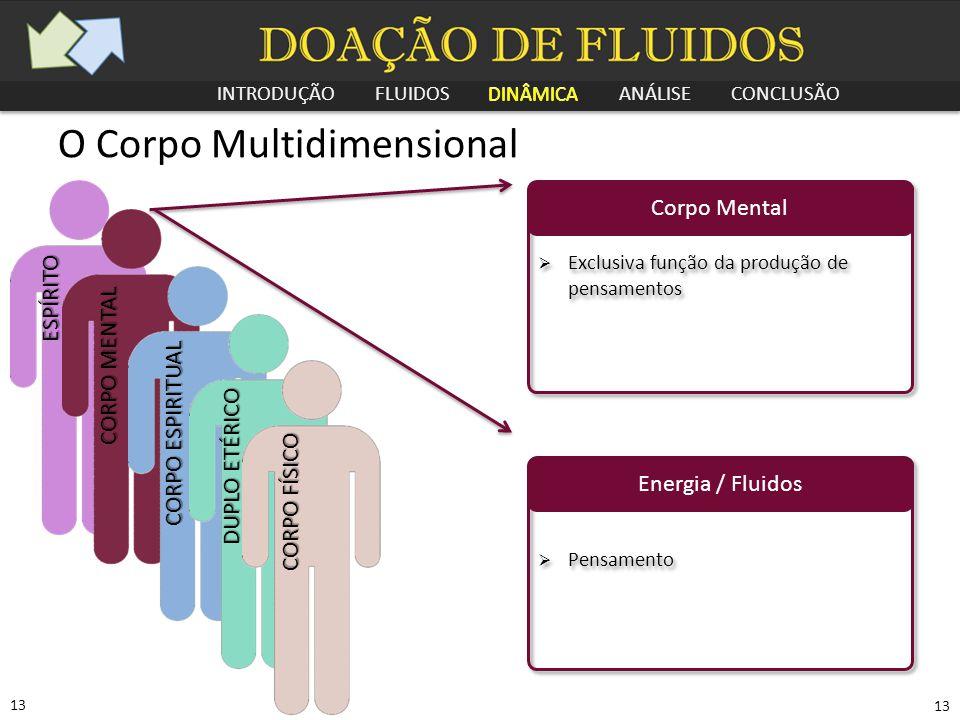 INTRODUÇÃO FLUIDOS DINÂMICA ANÁLISE CONCLUSÃO 13 O Corpo Multidimensional Corpo Mental  Exclusiva função da produção de pensamentos Energia / Fluidos