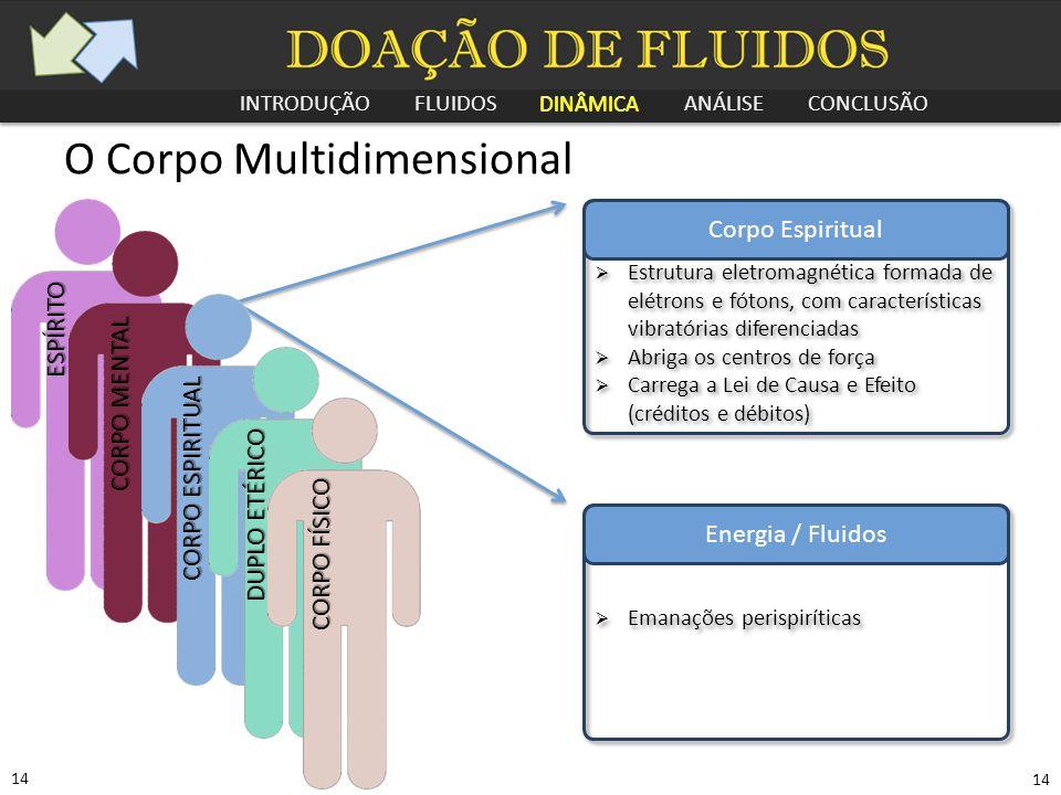 INTRODUÇÃO FLUIDOS DINÂMICA ANÁLISE CONCLUSÃO 14 O Corpo Multidimensional Corpo Espiritual  Estrutura eletromagnética formada de elétrons e fótons, c
